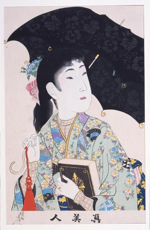 作品画像:真美人 洋傘をさす女学生