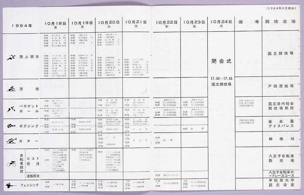 作品画像:オリンピック東京大会 競技日程表