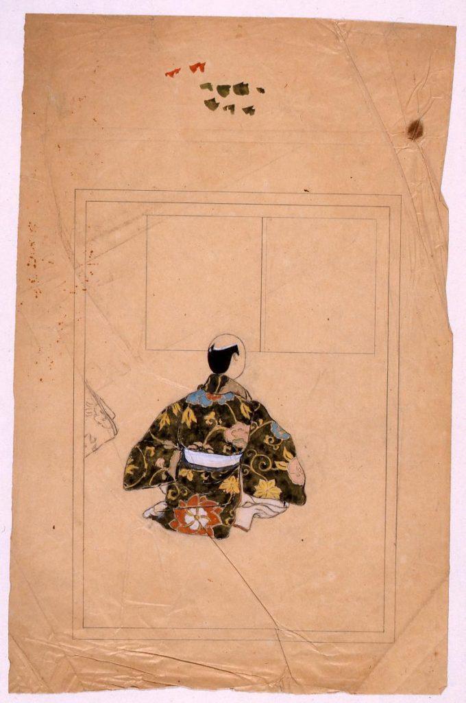 作品画像:挿図下絵 能装束を着た男