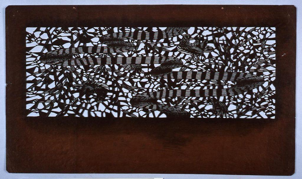 作品画像:長板中形型紙 笹にみずとり (小判 追掛)