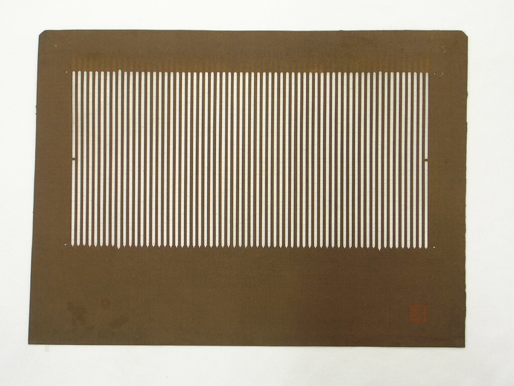 作品画像:長板中形型紙 中判糸入 棒縞