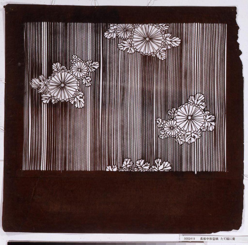 作品画像:長板中形型紙 たて縞に菊