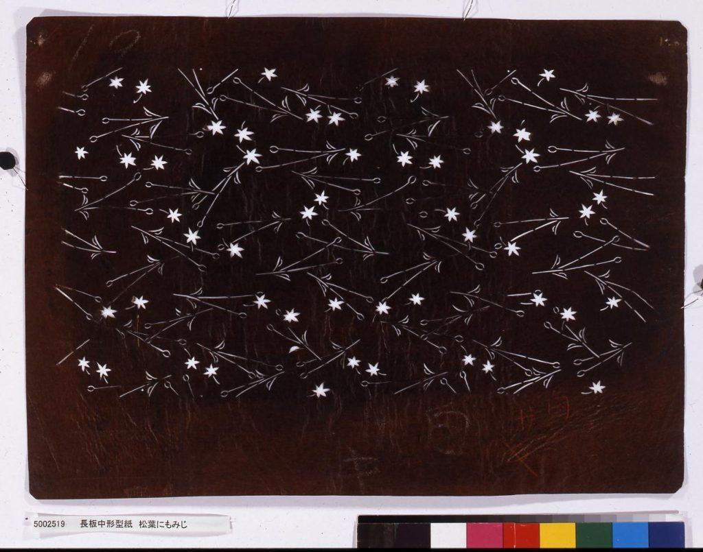 作品画像:長板中形型紙 松葉にもみじ