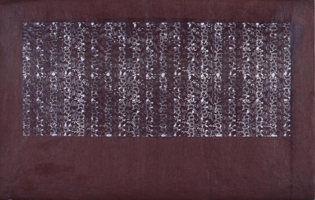 作品画像:長板中形型紙 縞に小菊文(追掛)