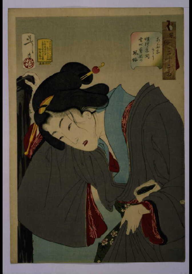 作品画像:風俗三十二相 あぶなさう 明治年間当時芸妓の風俗