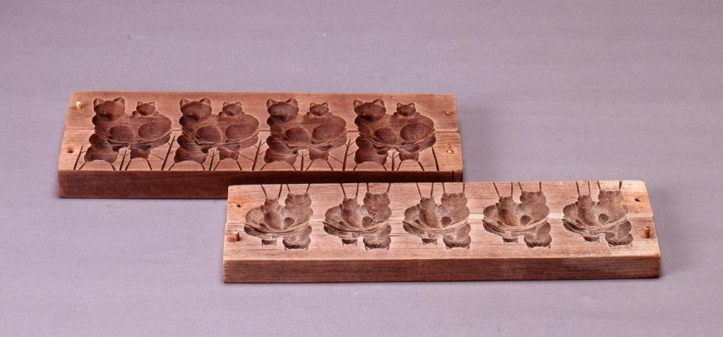 作品画像:菓子用木型 親子猫(小)