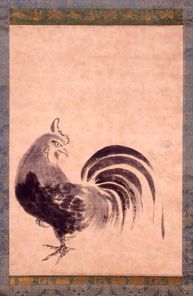 作品画像:伝徳川綱吉筆 鶏図