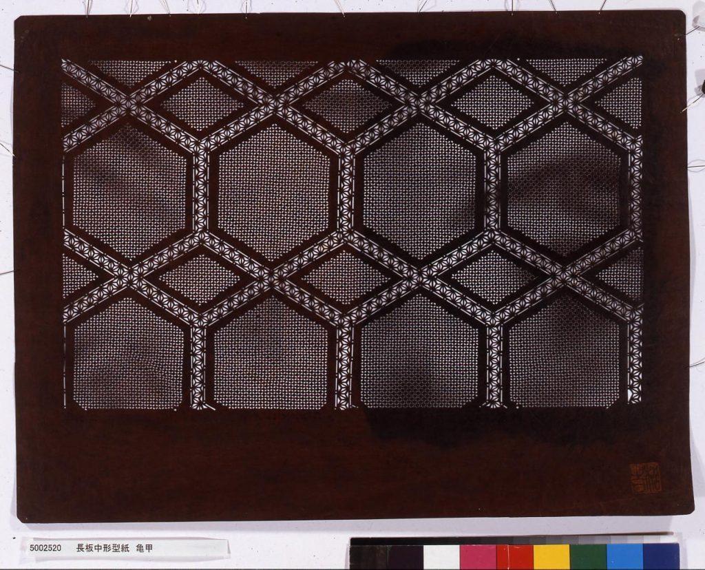 作品画像:長板中形型紙 亀甲
