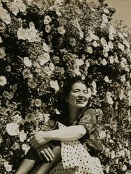 作品画像:花と女性