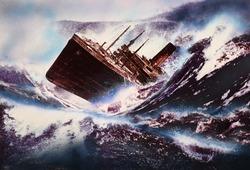 作品画像:(沈没する船)
