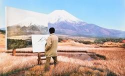 作品画像:(富士山を描く男)