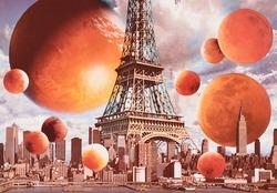 作品画像:(エッフェル塔とオレンジの球体)