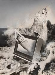 作品画像:(テレビから出る女を釣る男)