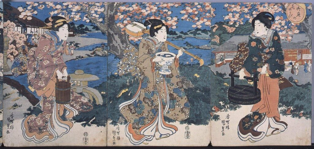 作品画像:錦絵版画帖 ー 御庭の花あそび