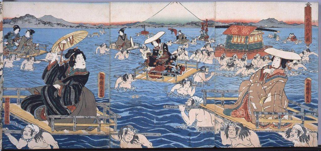 作品画像:錦絵版画帖 ー 東海道五十三次 大井川之図