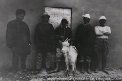 作品画像:米軍用防弾チョッキ製造工場の従業員と食用山羊 浦添市