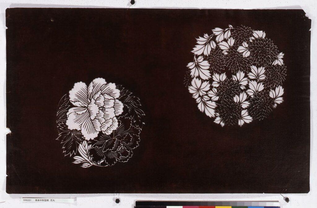 作品画像:長板中形型紙 花丸