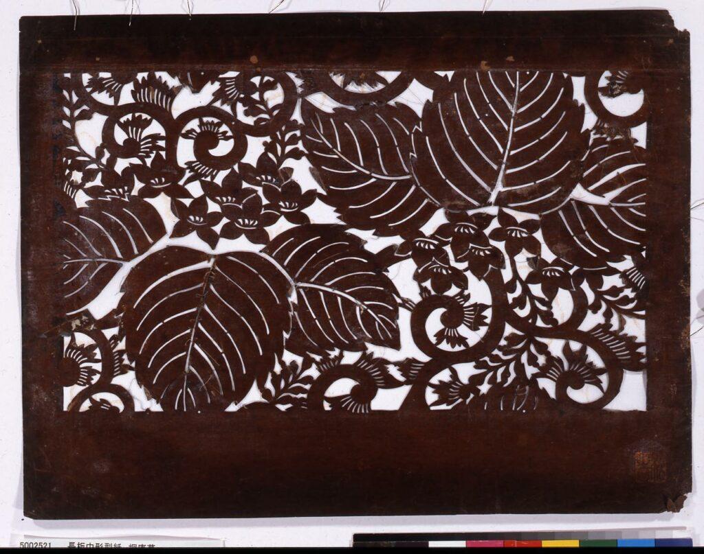 作品画像:長板中形型紙 桐唐草