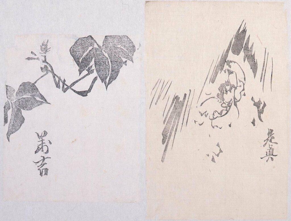 作品画像:墨版 蔦(万吉)、寒牡丹