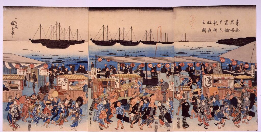 作品画像:東都名所 高輪二十六夜待遊興之図