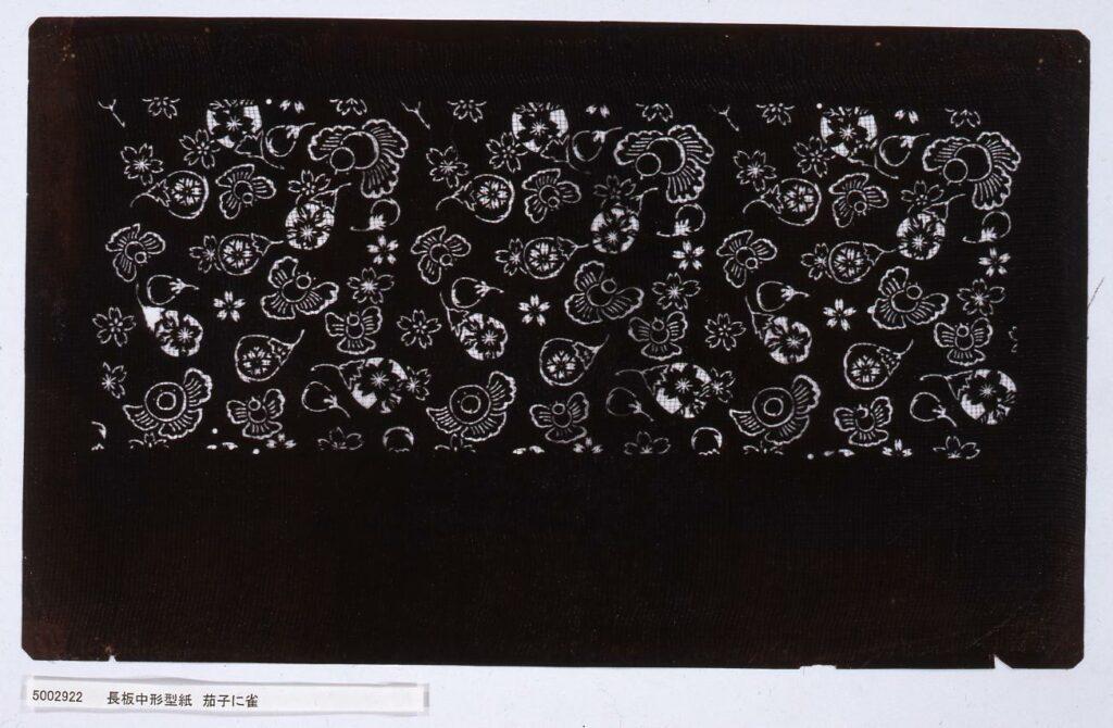 作品画像:長板中形型紙 茄子に雀