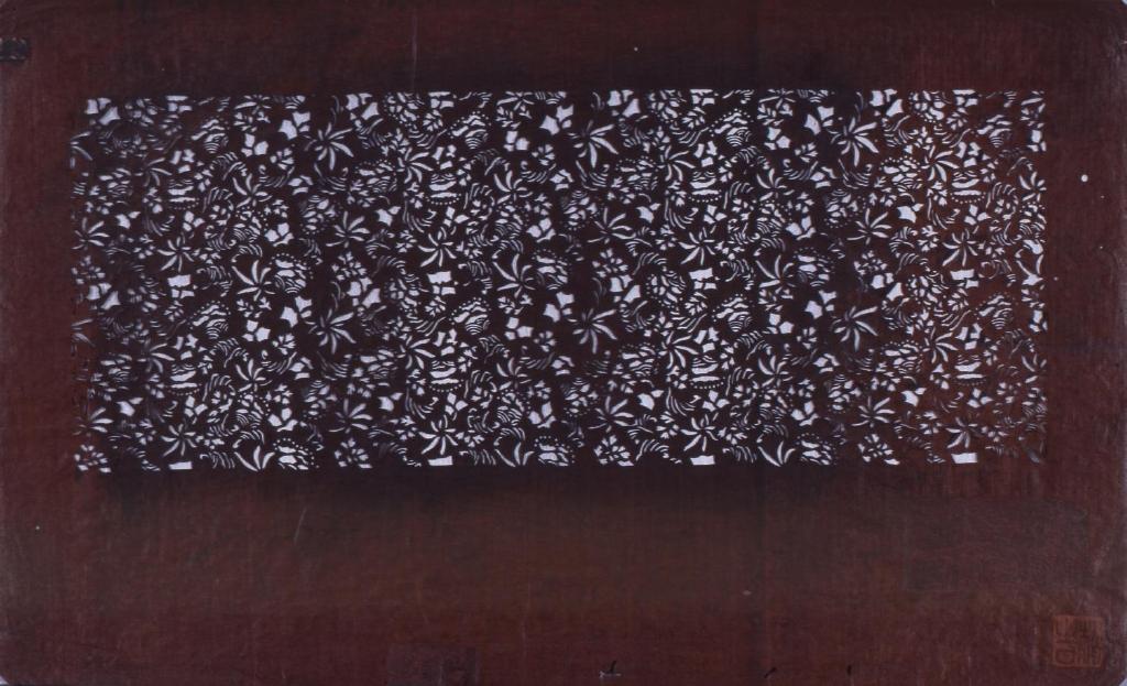 作品画像:長板中形型紙 草葉文(追掛)