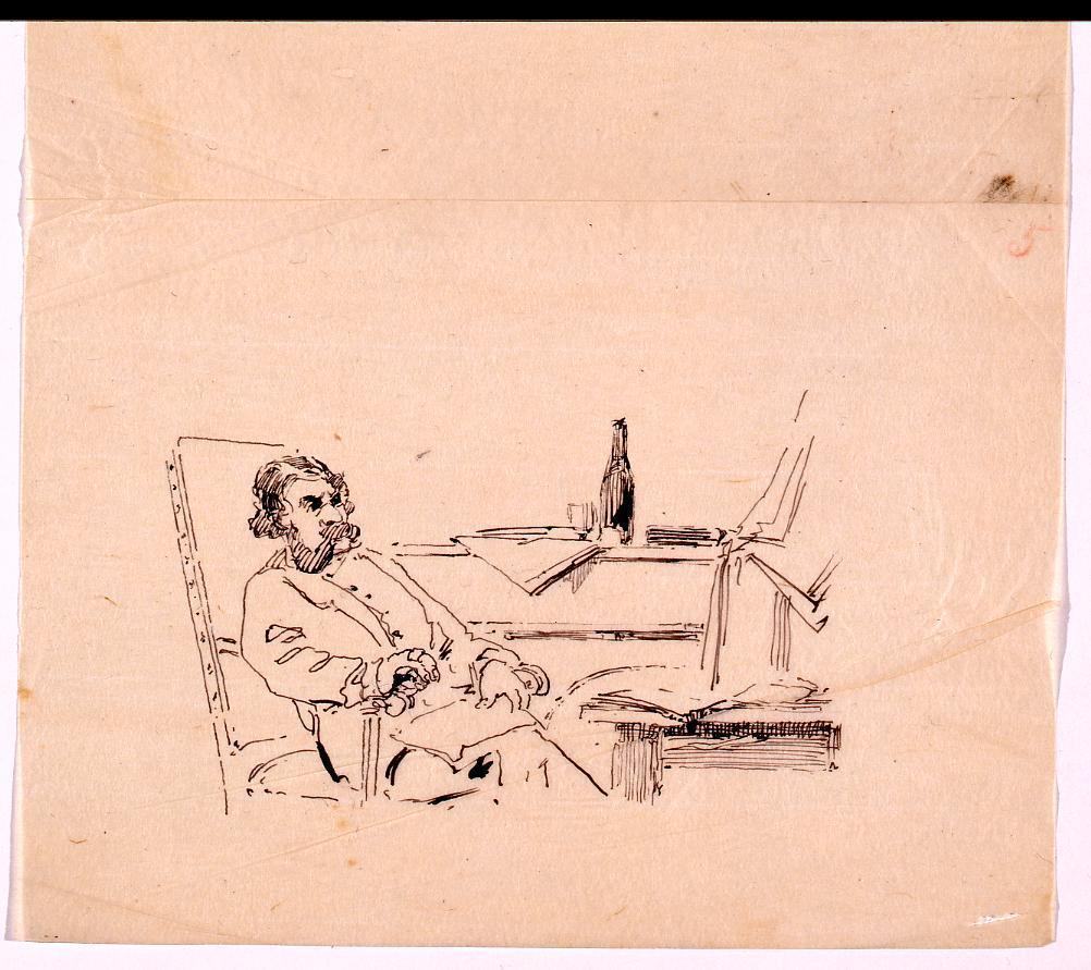 作品画像:挿図下絵 椅子に座る男