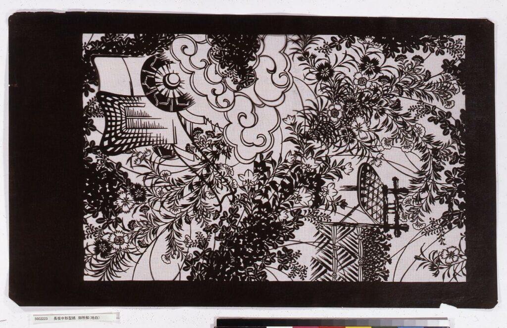 作品画像:長板中形型紙 御所解(地白)