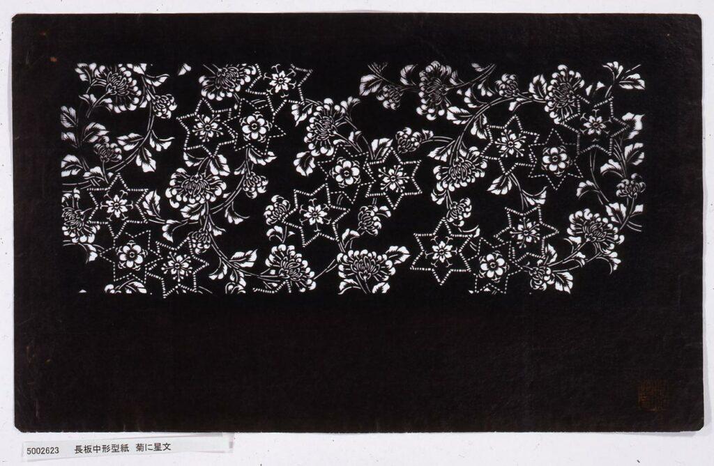 作品画像:長板中形型紙 菊に星文