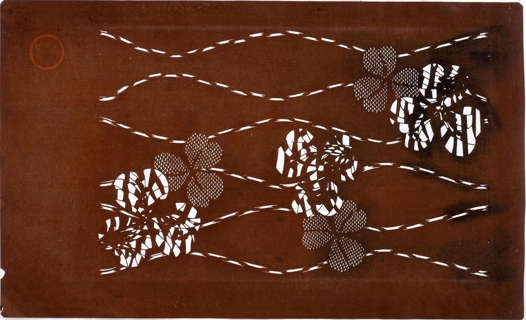 作品画像:長板中形型紙 立涌にクローバー(大判 追掛)