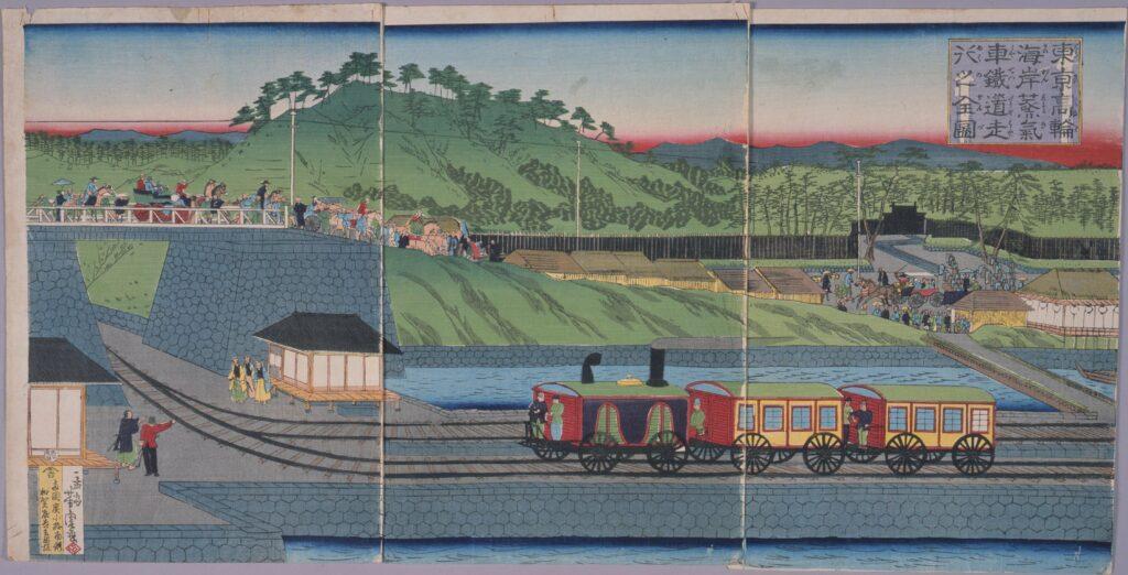 作品画像:東亰高輪海岸蒸気車鉄道走行之全図