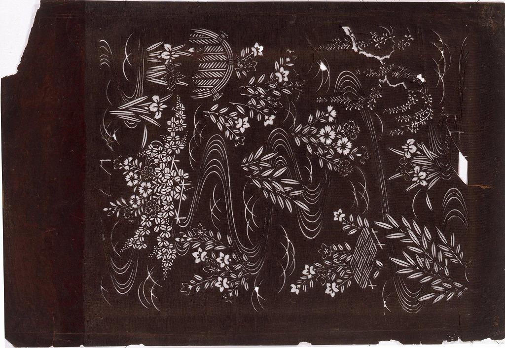 作品画像:長板中形型紙 秋草に流水