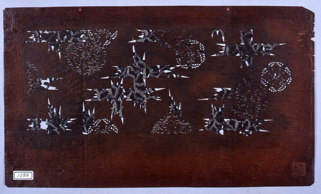 作品画像:長板中形型紙 藤丸に十字文 (小判 追掛)