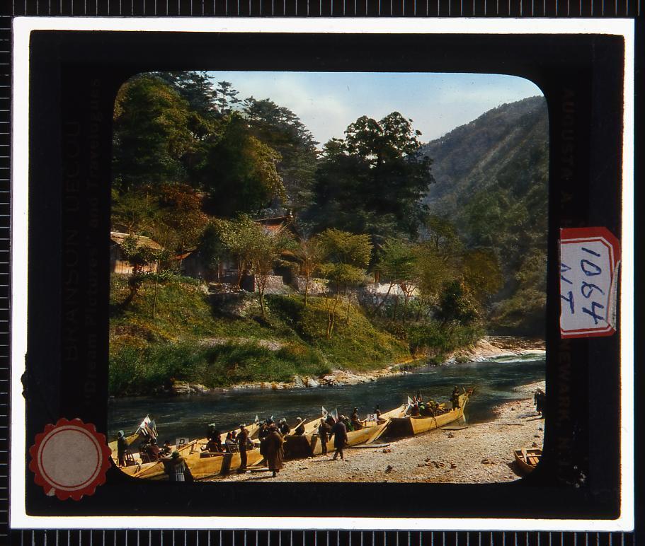 作品画像:川下り 桂川(幻燈原板)