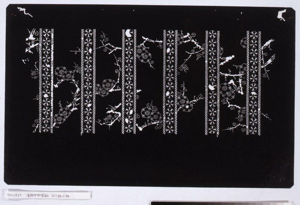 作品画像:長板中形型紙 たて縞に梅