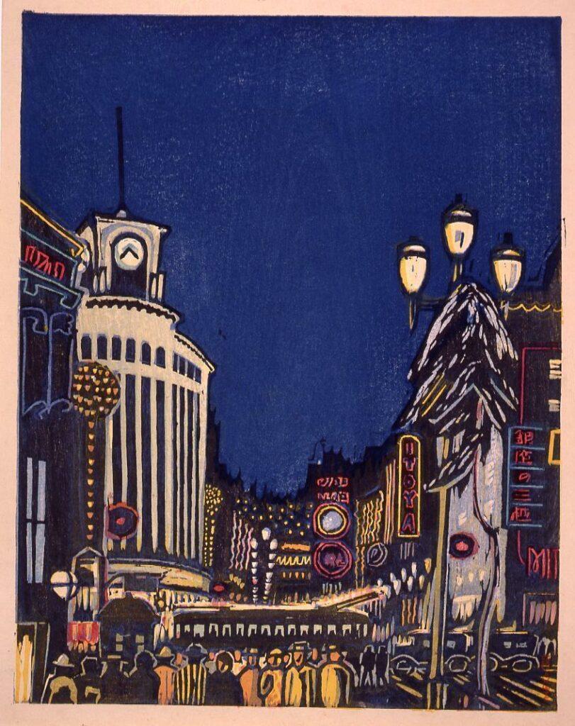 作品画像:大東京十二景の内 五月 夜の銀座(京橋区)