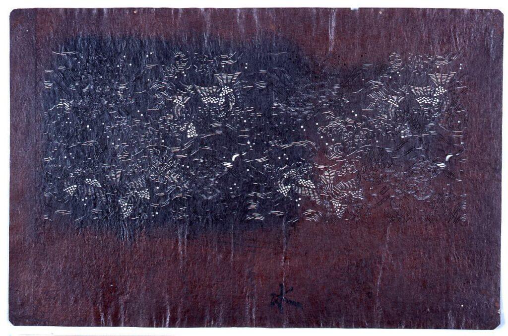 作品画像:長板中形型紙 鳳凰に雲(小判 追掛)