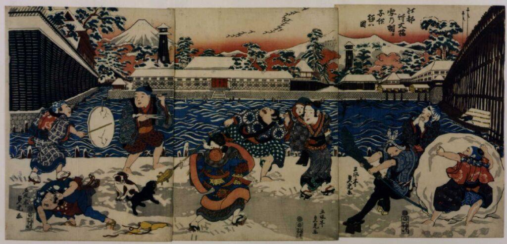 作品画像:江都新大橋雪の朝タ子供遊の図