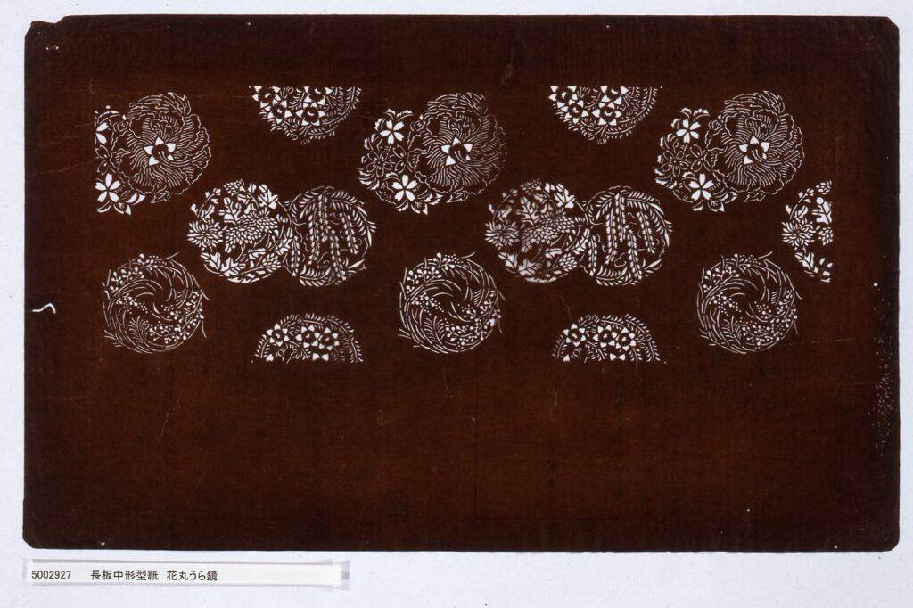 作品画像:長板中形型紙 花丸うら鏡
