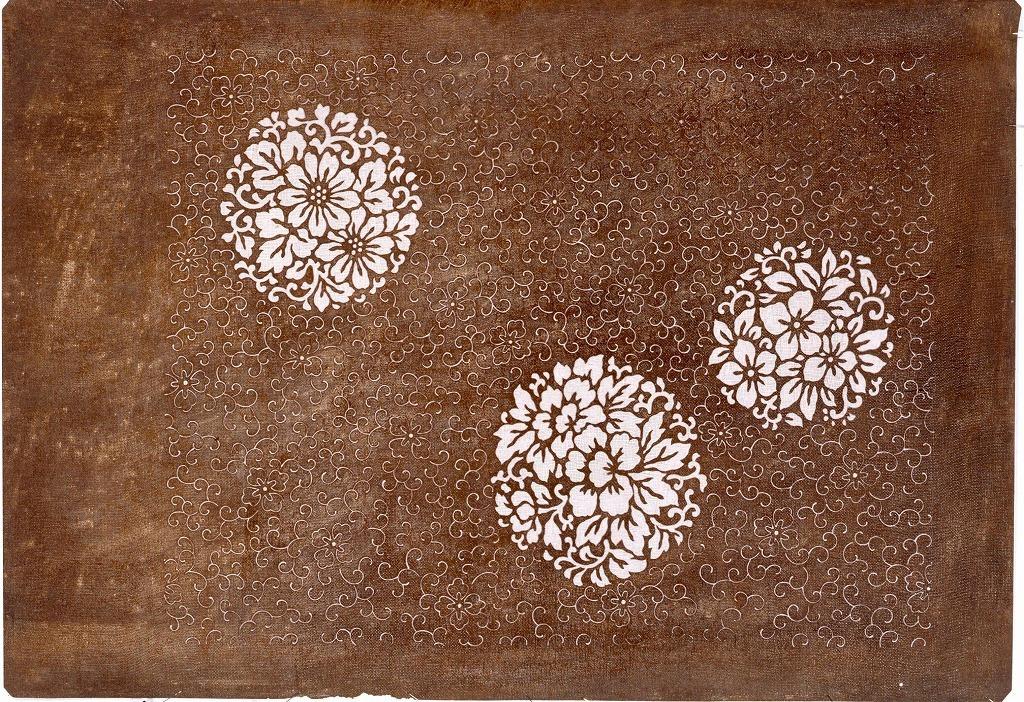 作品画像:長板中形型紙 花丸に唐草