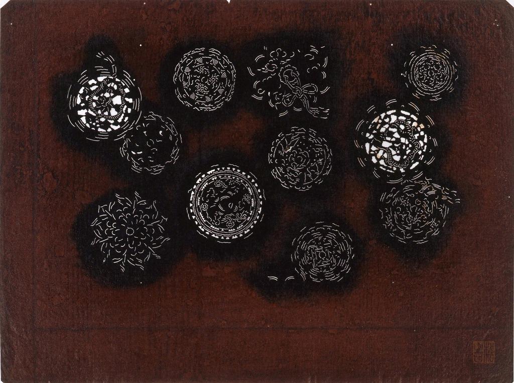 作品画像:長板中形型紙 裏鏡(小判 追掛)