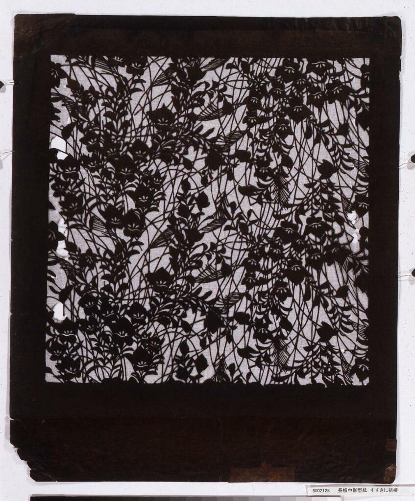 作品画像:長板中形型紙 すすきに桔梗