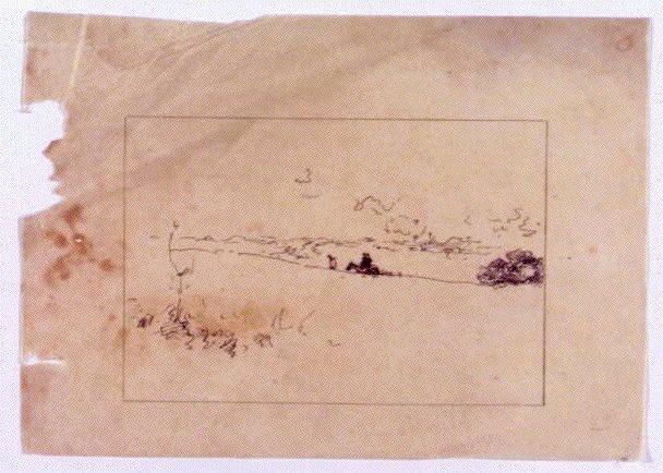 作品画像:素描 風景(馬をひく人物)