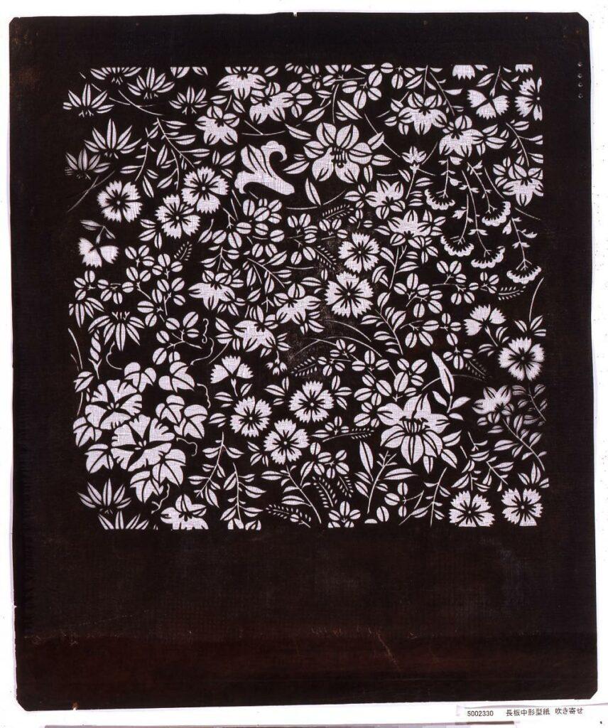 作品画像:長板中形型紙 吹き寄せ
