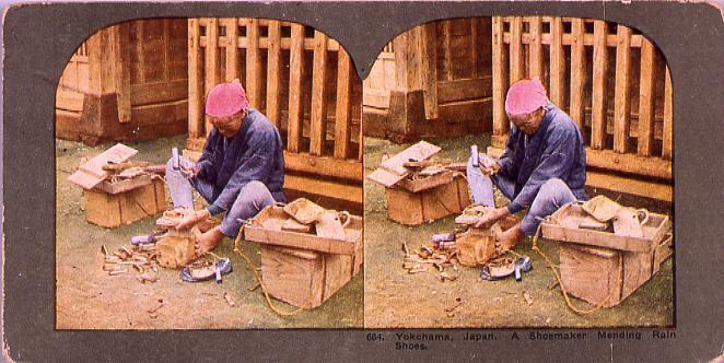 作品画像:Yokohama,Japan.A Shoemaker Mending Rain Shoes.664