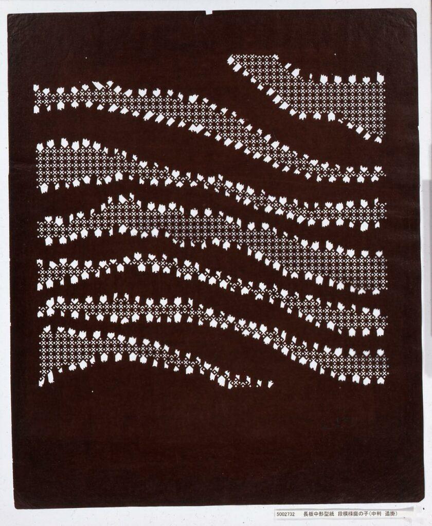作品画像:長板中形型紙 段模様鹿の子(中判 追掛)