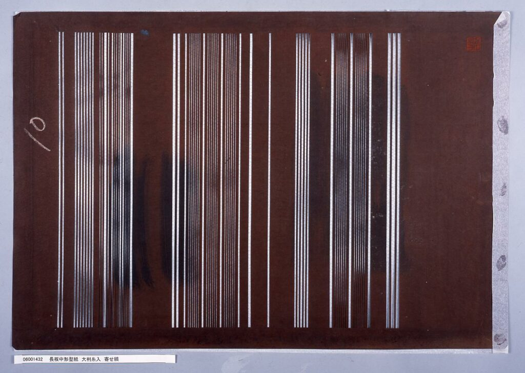 作品画像:長板中形型紙 大判糸入 寄せ縞