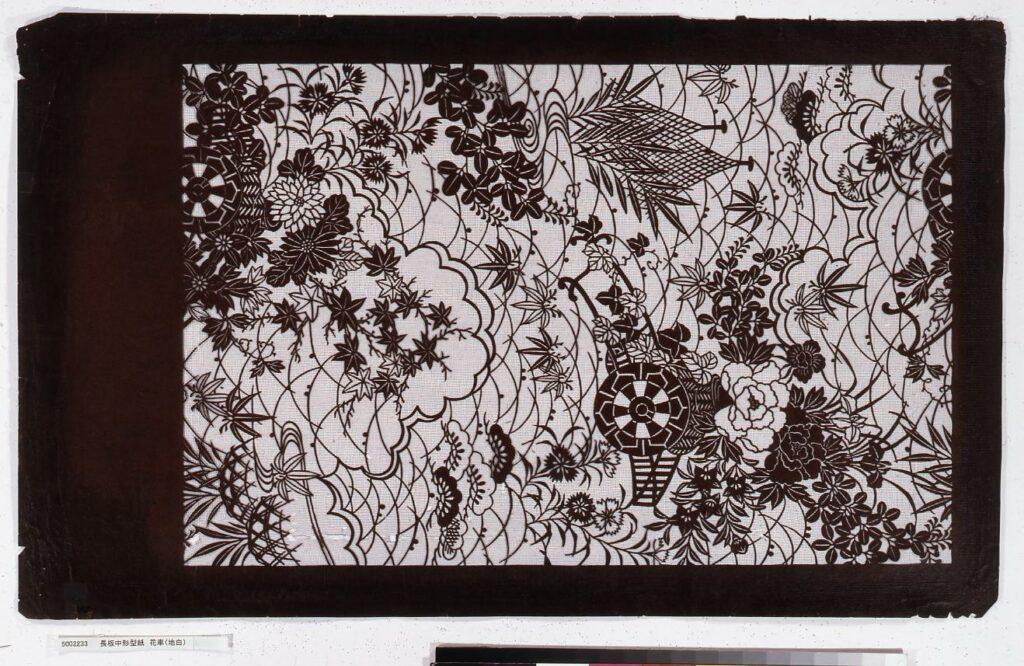 作品画像:長板中形型紙 花車(地白)