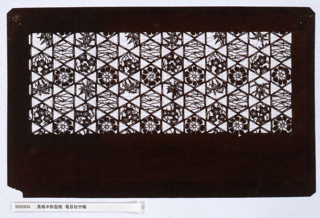 作品画像:長板中形型紙 籠目松竹梅
