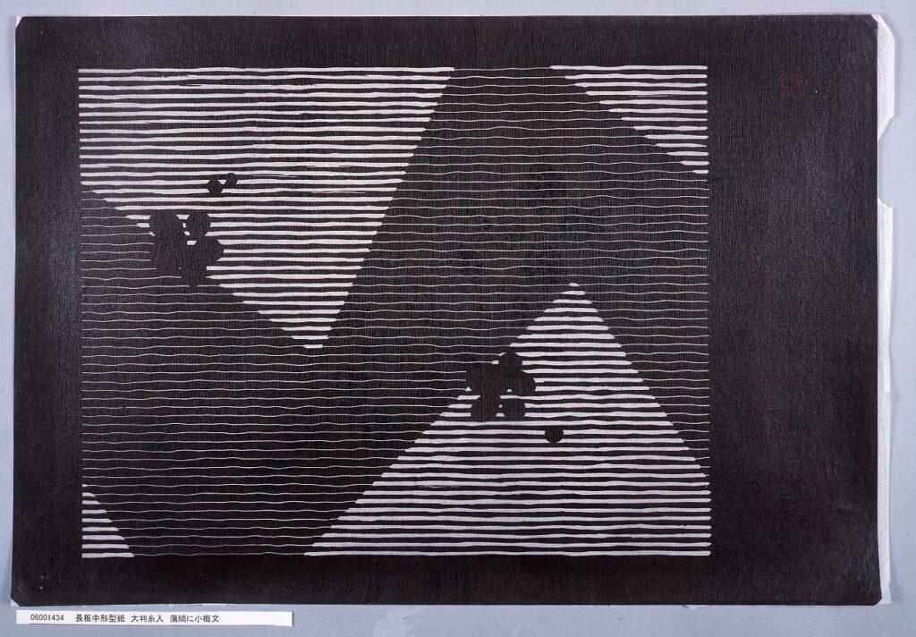 作品画像:長板中形型紙 大判糸入 蒲縞に小梅文